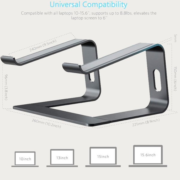 """Black Stance EasyView 6"""" Laptop Stand with Product Specifications"""