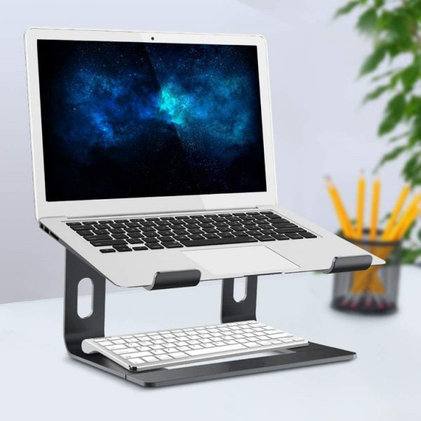 """Black Stance EasyView 6"""" Laptop Stand with Laptop & Wireless Keyboard"""